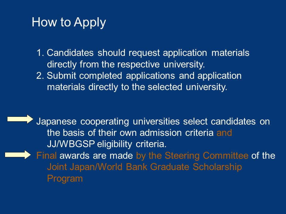 How to Apply 1. Candidates should request application materials directly from the respective university.