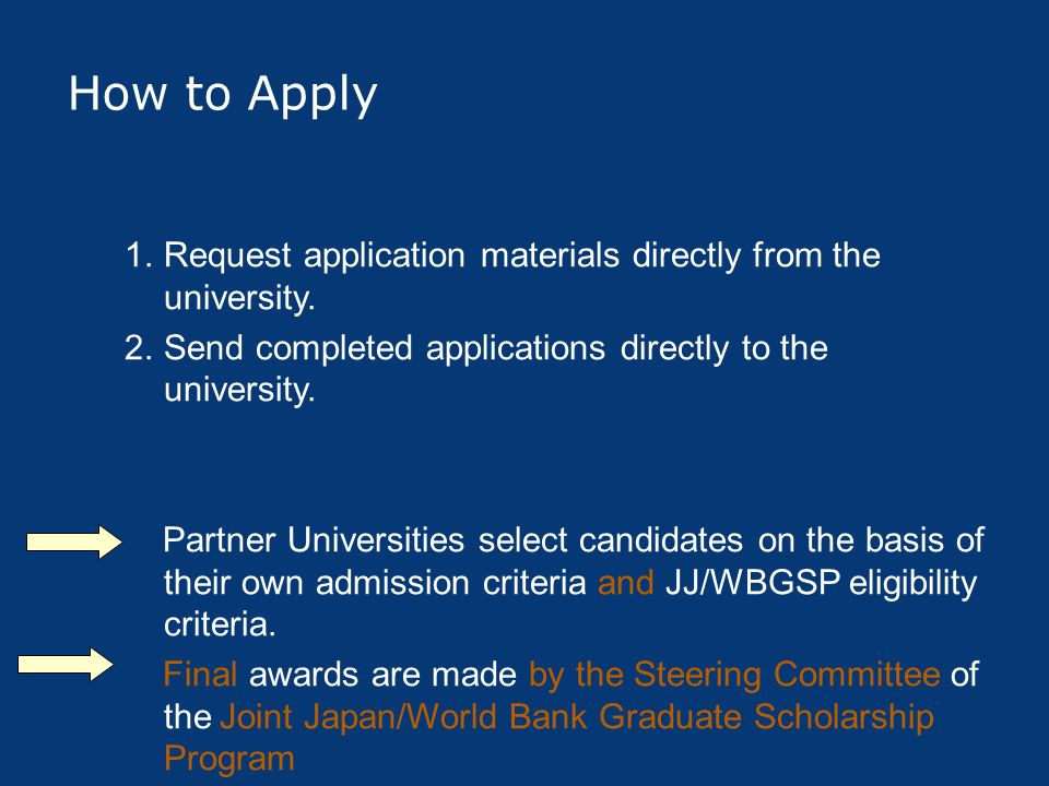 How to Apply Request application materials directly from the university. Send completed applications directly to the university.