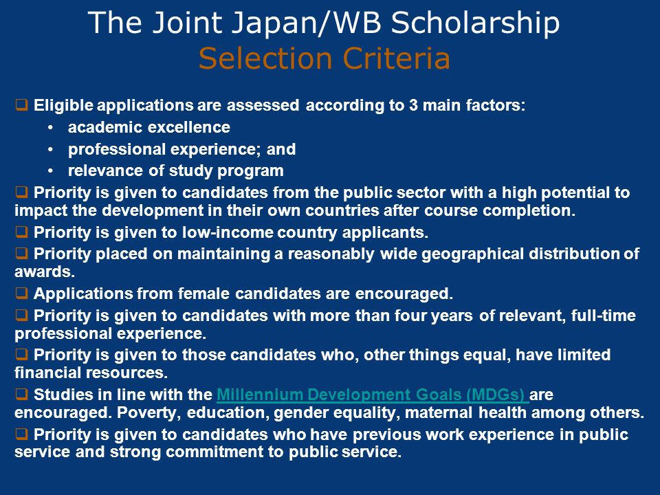 The Joint Japan/WB Scholarship Selection Criteria