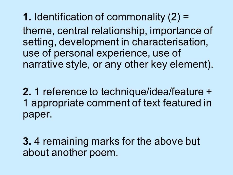 1. Identification of commonality (2) =