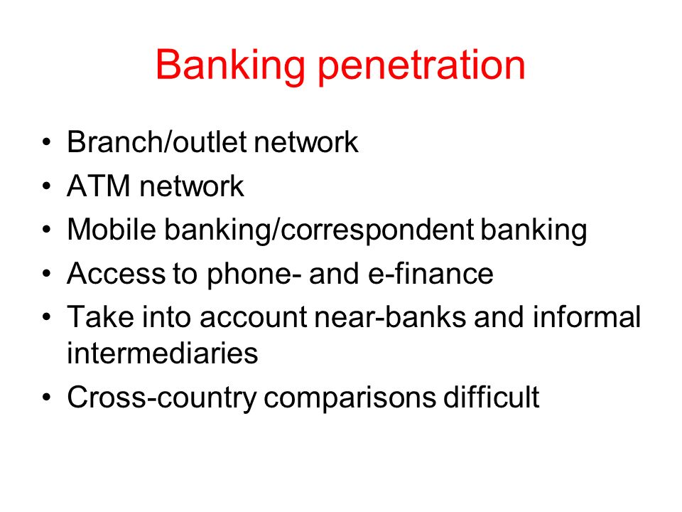 Banking penetration Branch/outlet network ATM network