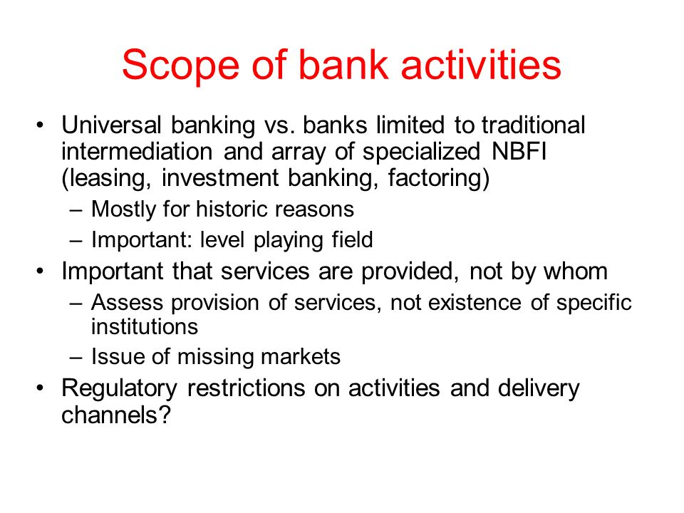 Scope of bank activities
