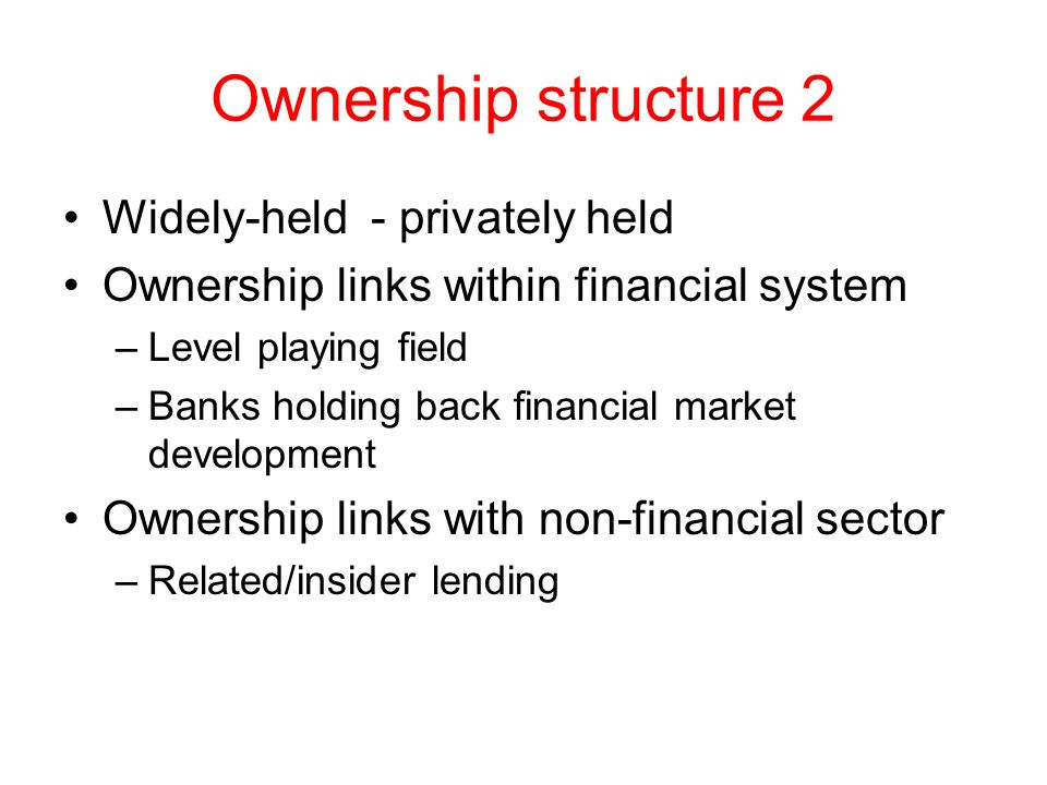 Ownership structure 2 Widely-held - privately held