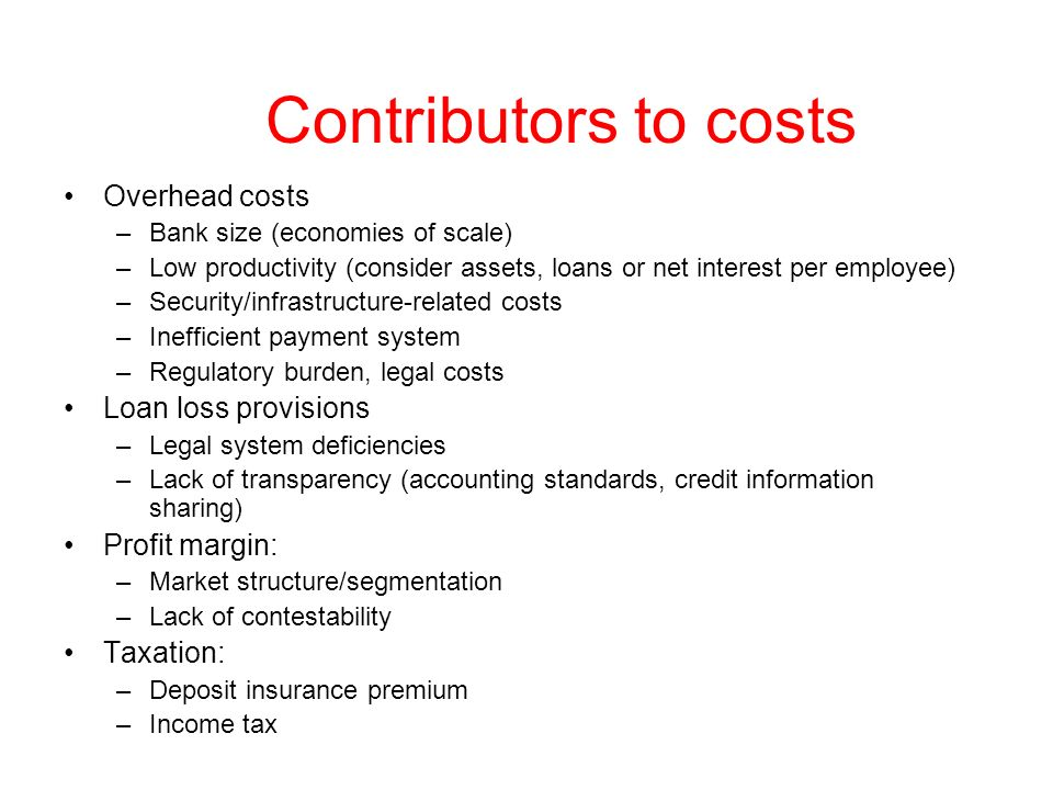 Contributors to costs Overhead costs Loan loss provisions