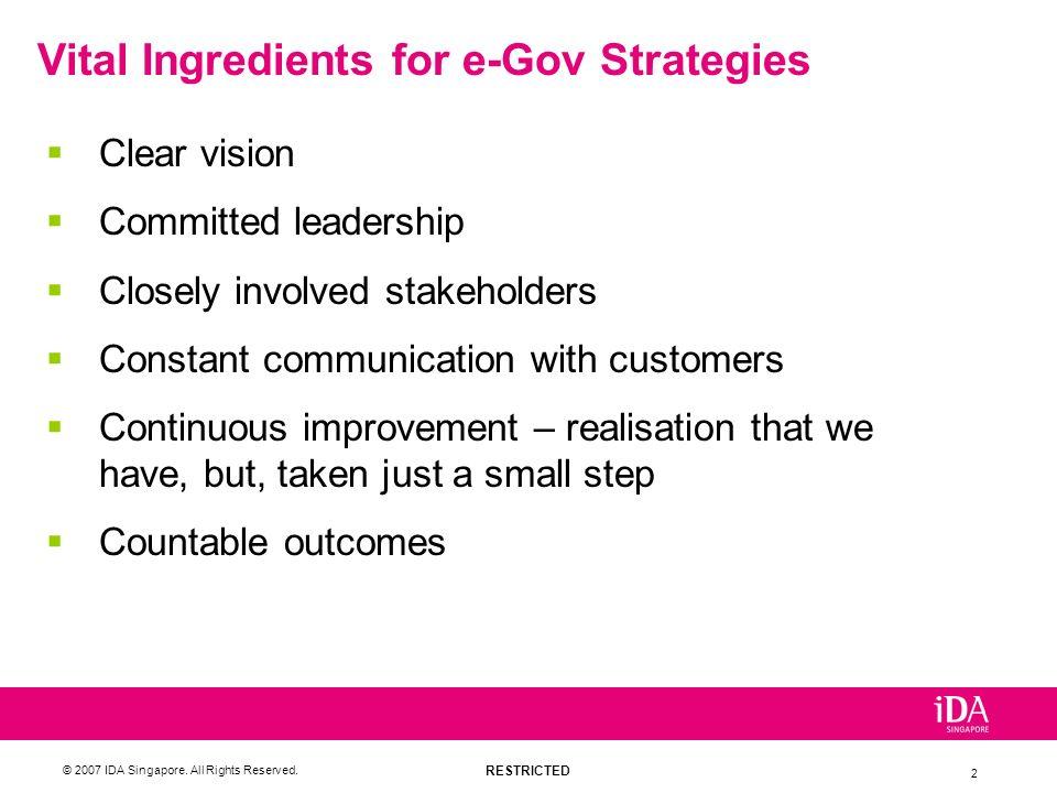 Vital Ingredients for e-Gov Strategies