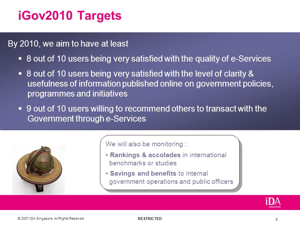 iGov2010 Targets By 2010, we aim to have at least