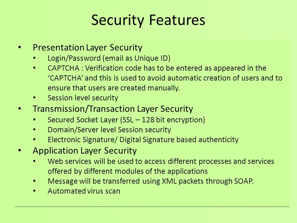 Security Features Presentation Layer Security