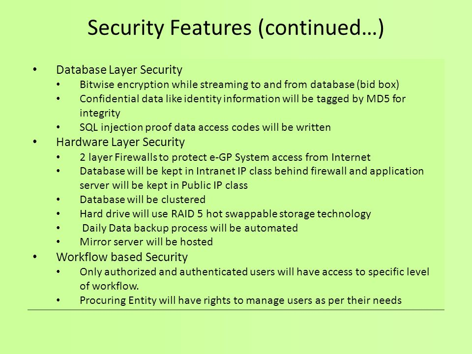 Security Features (continued…)