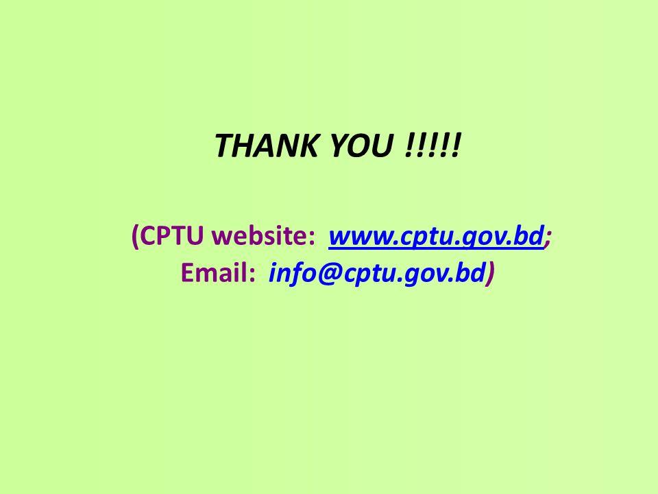 THANK YOU. (CPTU website: www. cptu. gov