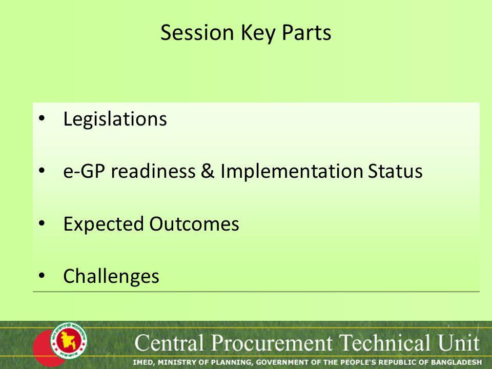 Session Key Parts Legislations e-GP readiness & Implementation Status