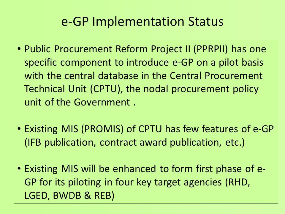 e-GP Implementation Status