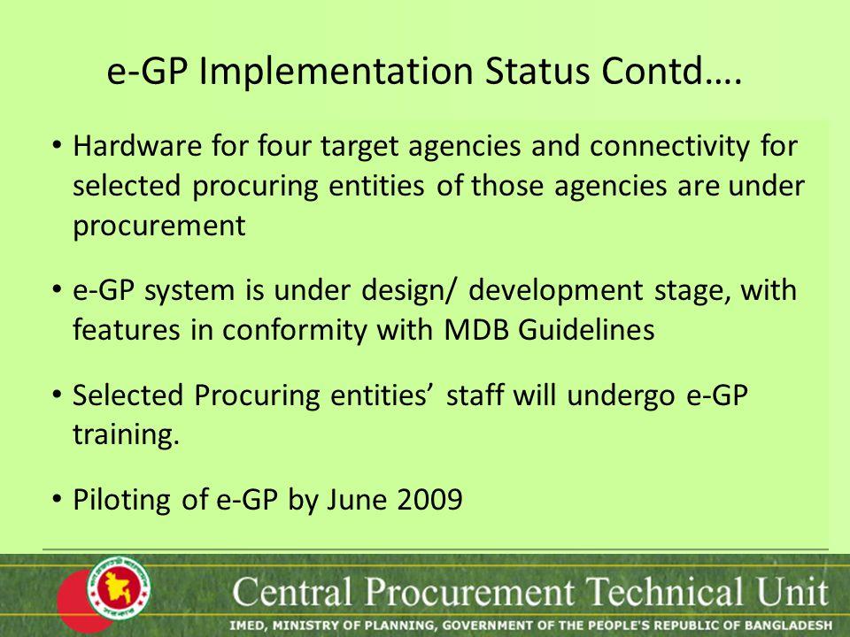 e-GP Implementation Status Contd….