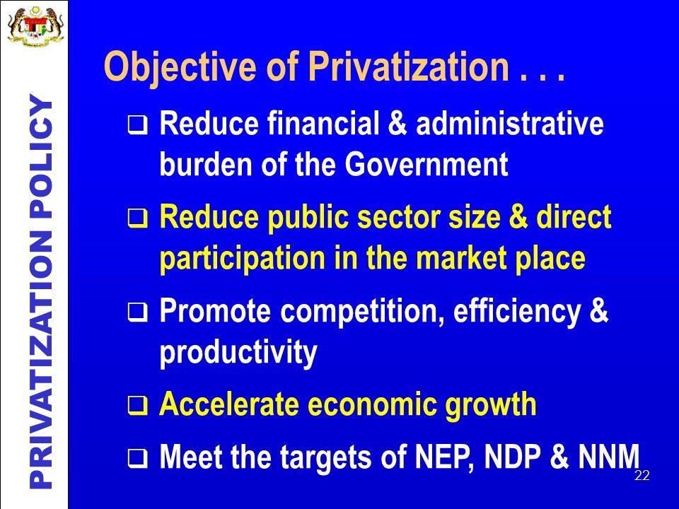 Objective of Privatization . . .
