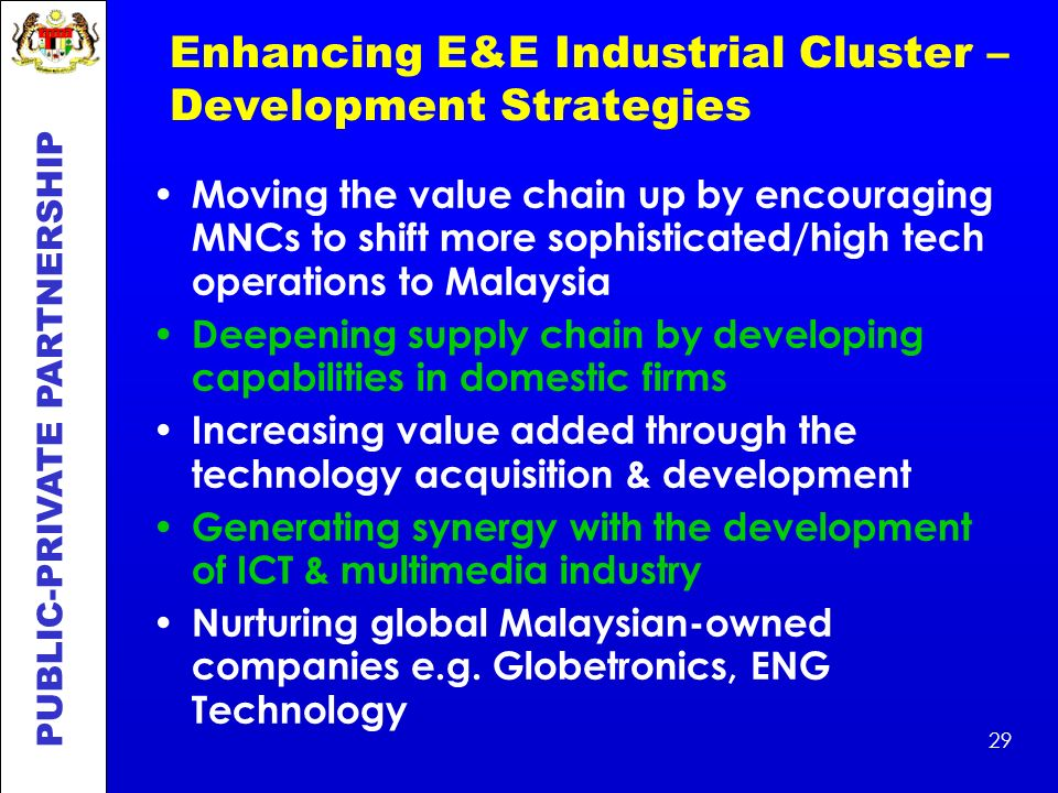 Enhancing E&E Industrial Cluster – Development Strategies