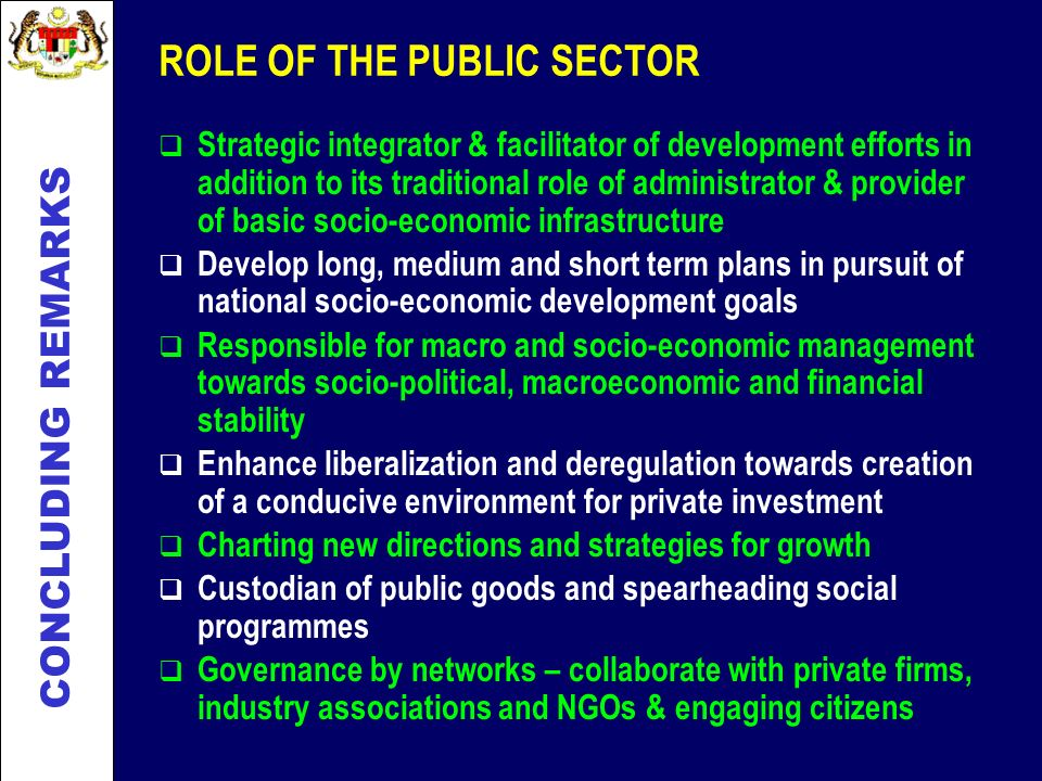 ROLE OF THE PUBLIC SECTOR