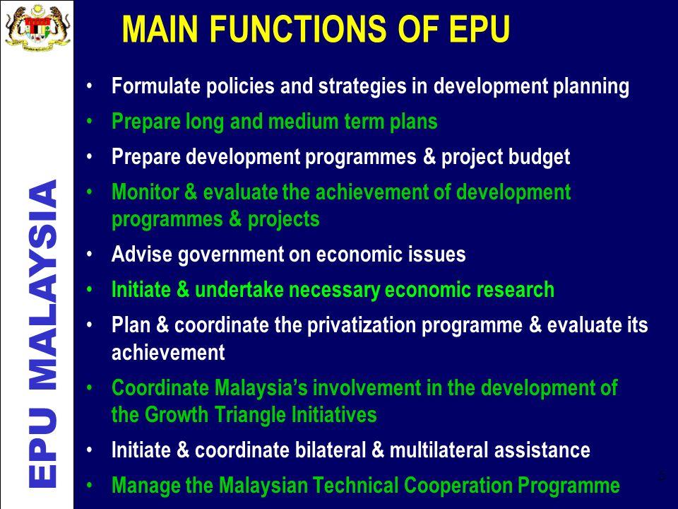 MAIN FUNCTIONS OF EPU EPU MALAYSIA