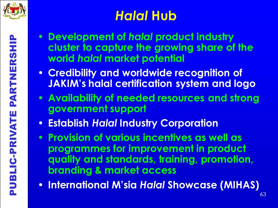 Halal Hub Development of halal product industry cluster to capture the growing share of the world halal market potential.
