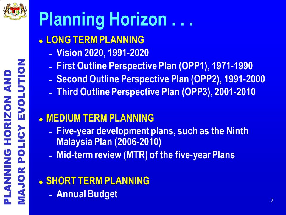 Planning Horizon LONG TERM PLANNING Vision 2020,