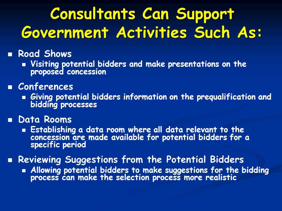 Consultants Can Support Government Activities Such As: