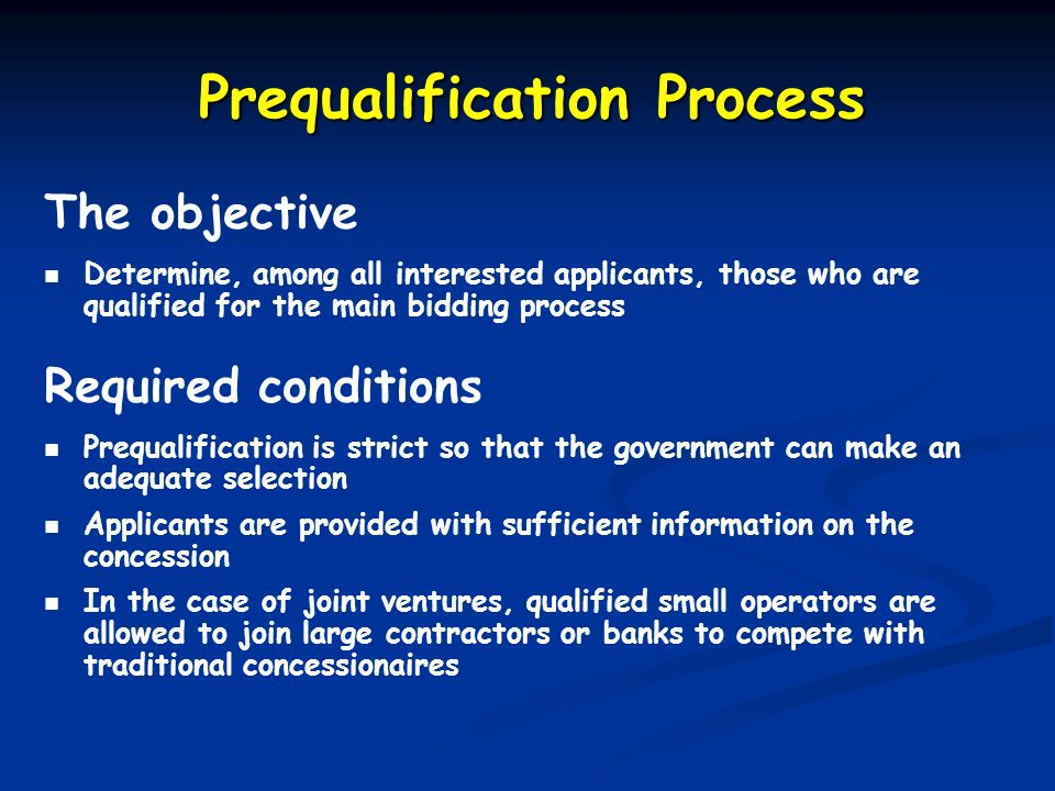 Prequalification Process