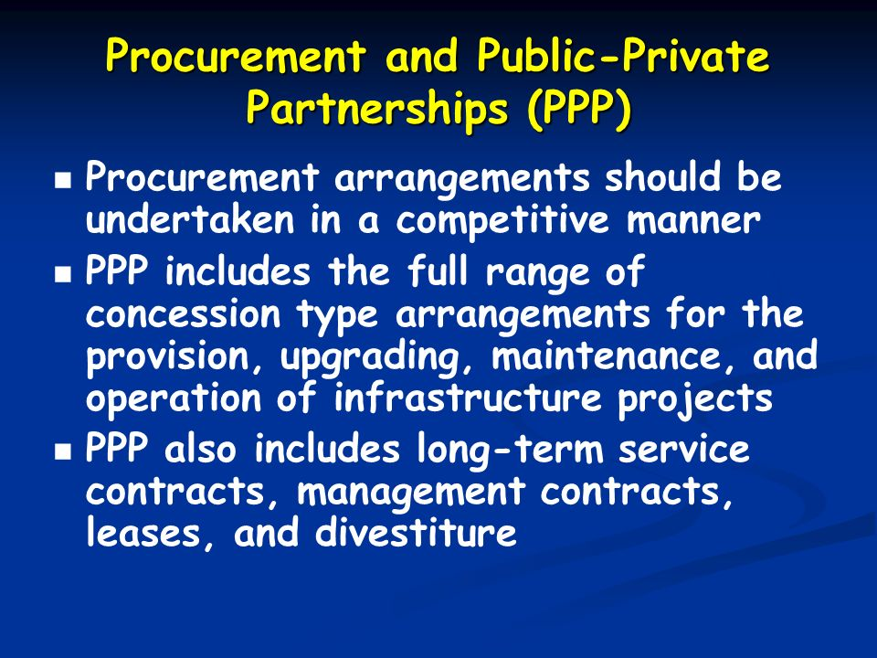 Procurement and Public-Private Partnerships (PPP)