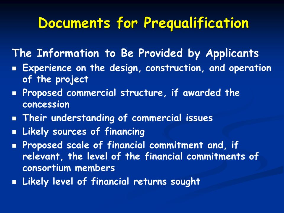 Documents for Prequalification