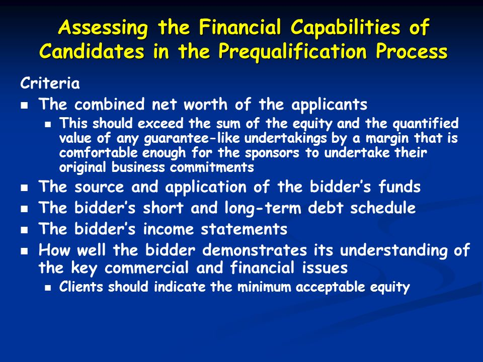 Assessing the Financial Capabilities of Candidates in the Prequalification Process