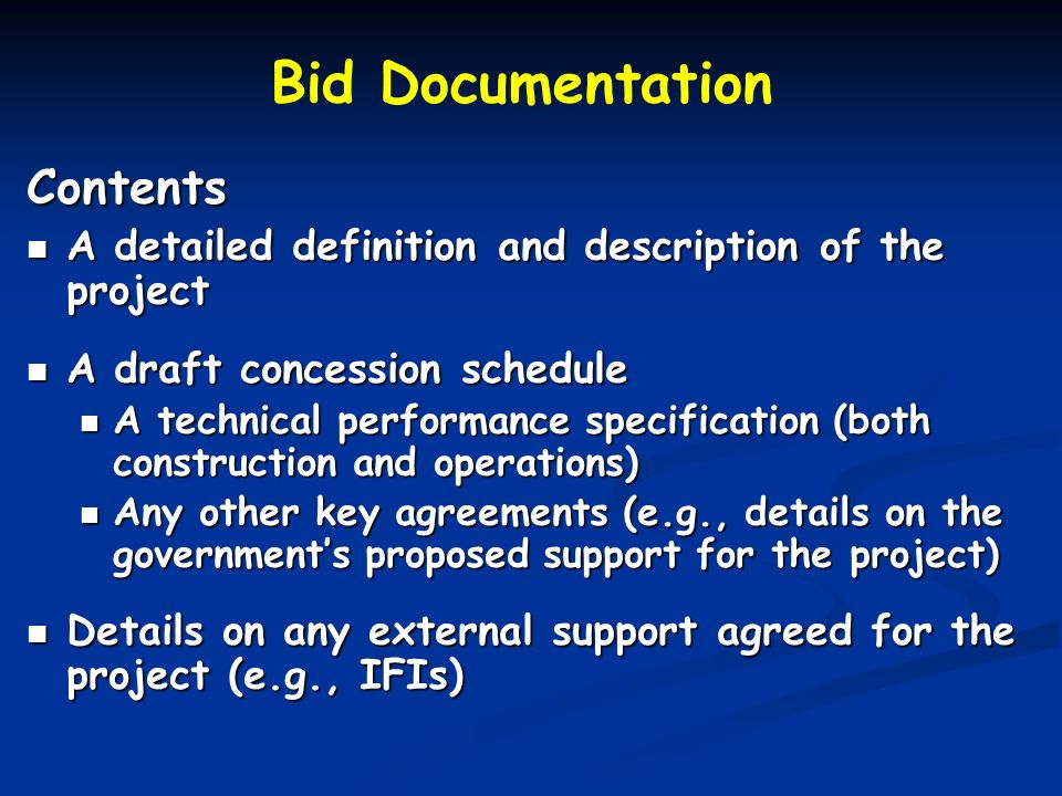 Bid Documentation Contents