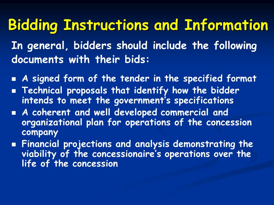 Bidding Instructions and Information