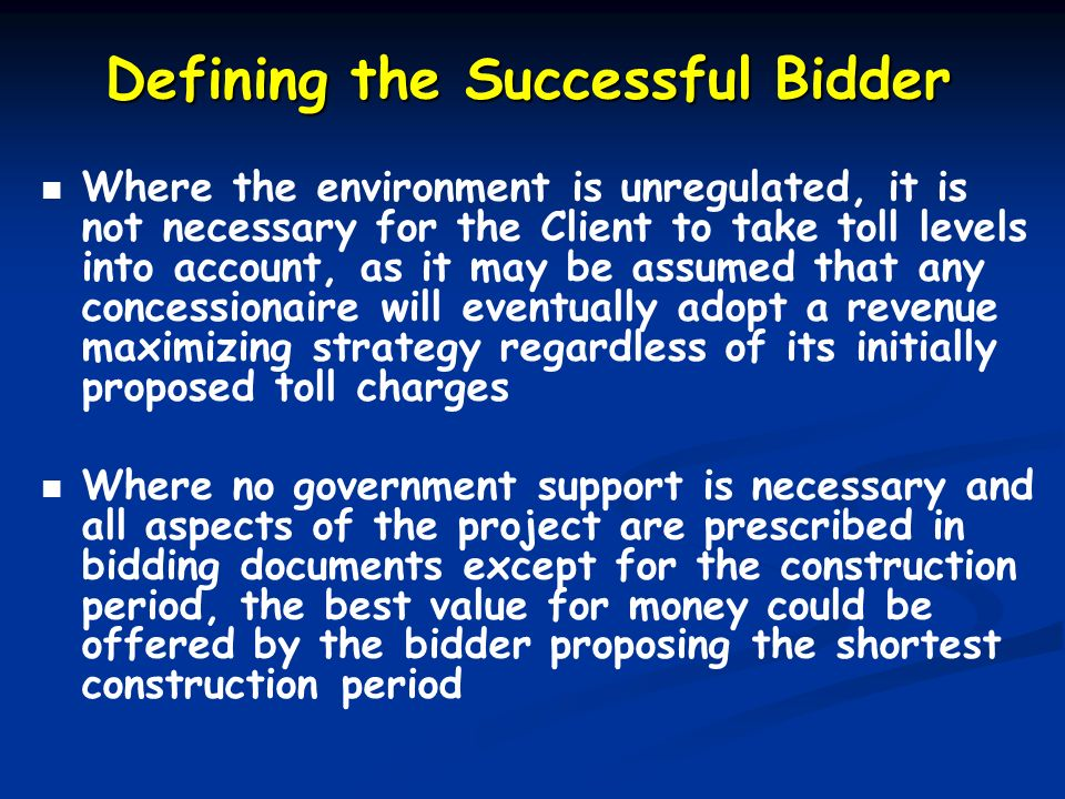 Defining the Successful Bidder