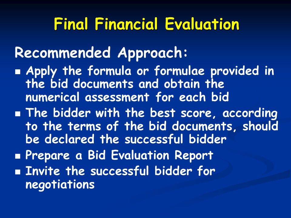 Final Financial Evaluation