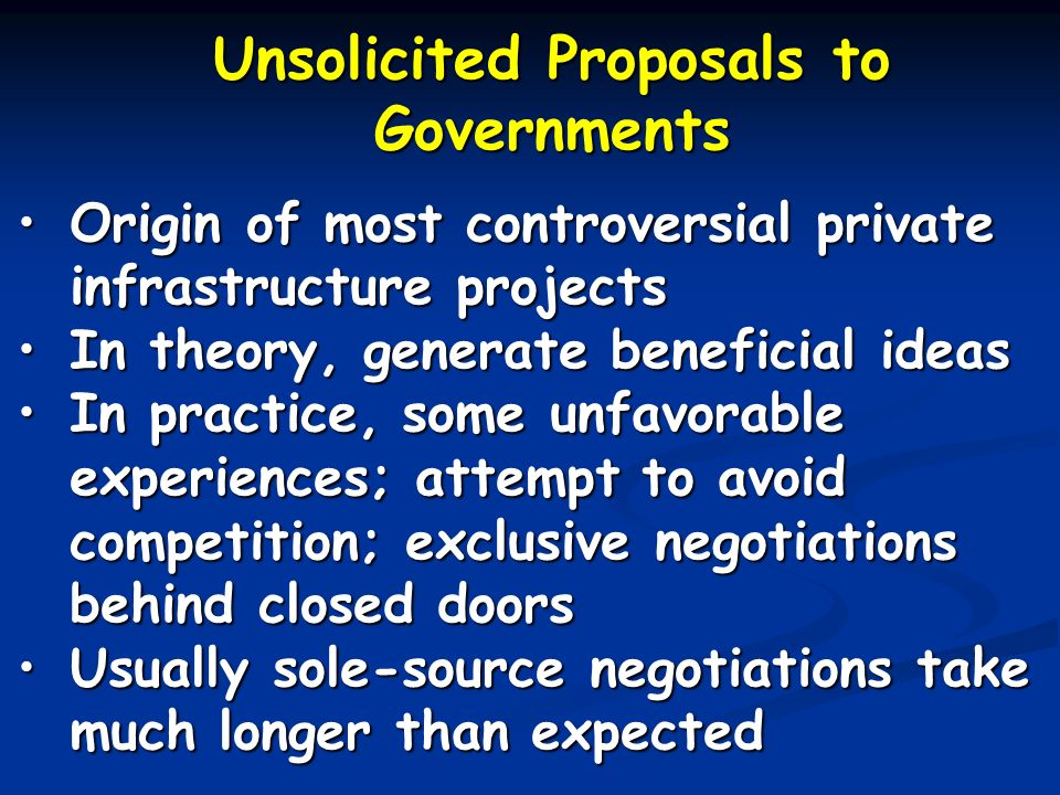 Unsolicited Proposals to Governments