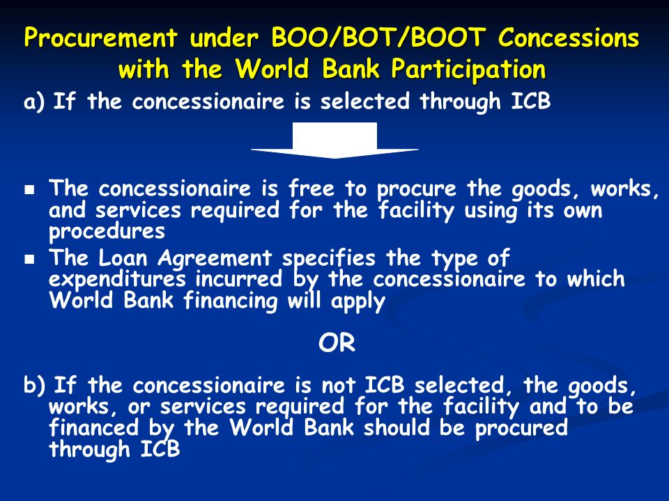 Procurement under BOO/BOT/BOOT Concessions with the World Bank Participation