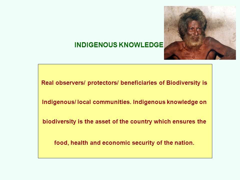 INDIGENOUS KNOWLEDGEReal observers/ protectors/ beneficiaries of Biodiversity is. Indigenous/ local communities. Indigenous knowledge on.