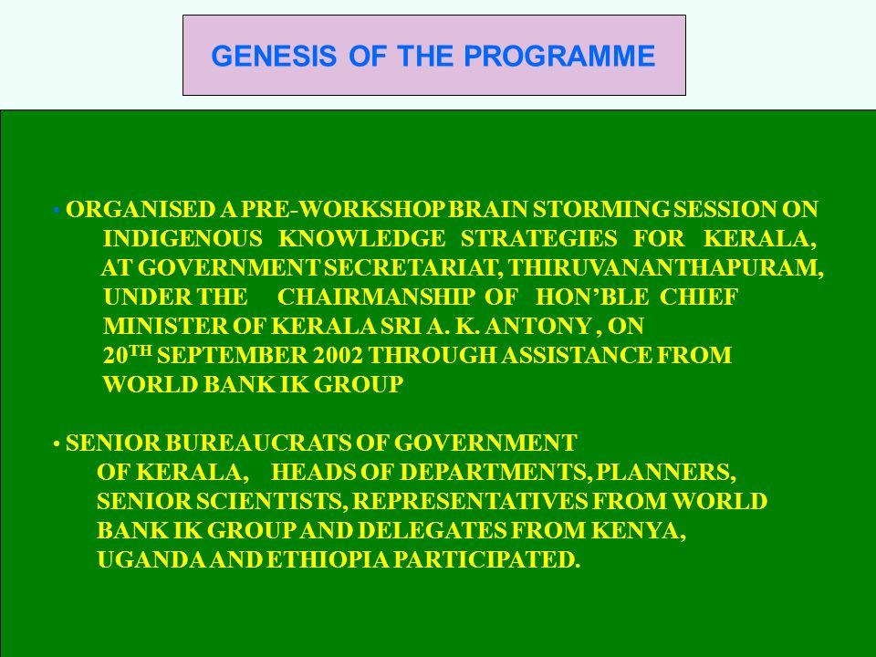 GENESIS OF THE PROGRAMME