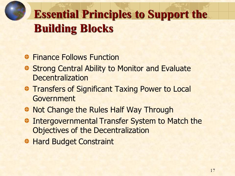 Essential Principles to Support the Building Blocks