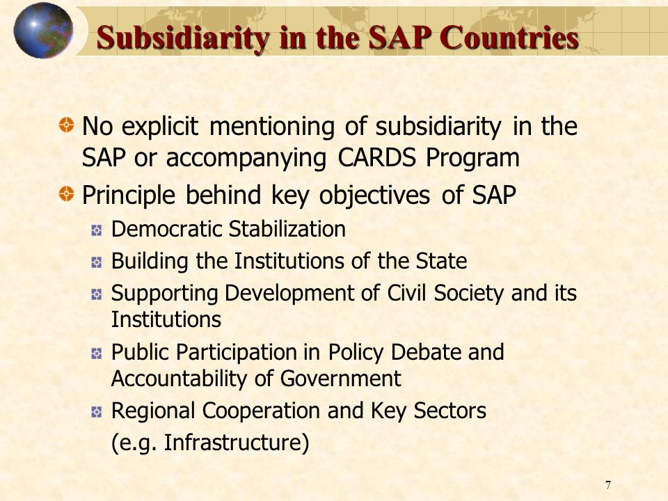 Subsidiarity in the SAP Countries