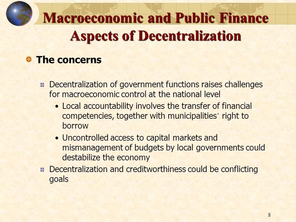 Macroeconomic and Public Finance Aspects of Decentralization