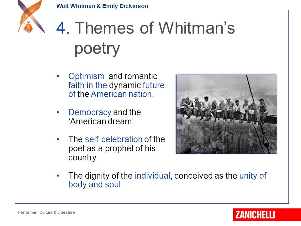 """the dichotomy between the soul and body in song of myself by walt whitman In section 5 of """"song of myself"""", whitman's ecstatic revelation of union of his body with his soul has been depicted with mystic expression the poet has a feeling of fraternity and oneness with god and his fellowmen."""