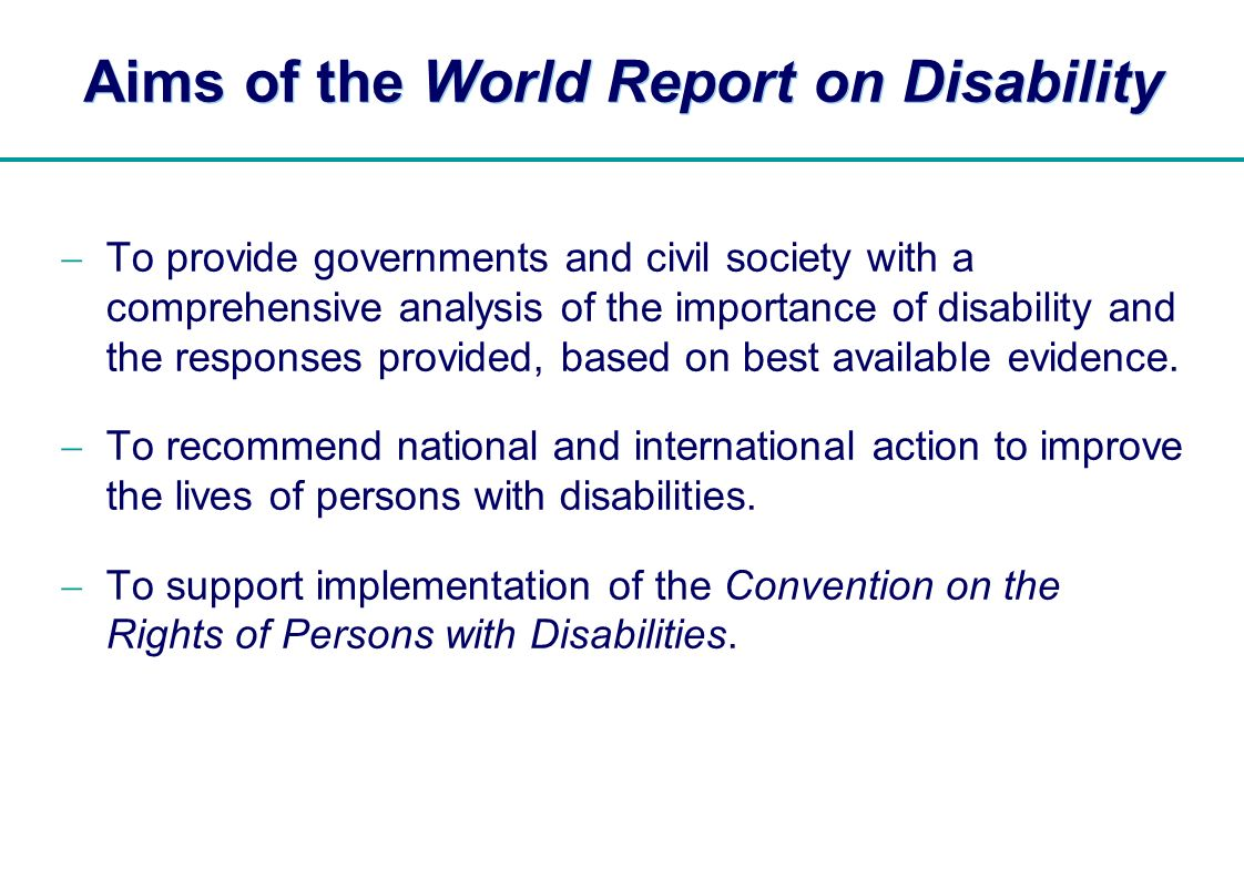Aims of the World Report on Disability