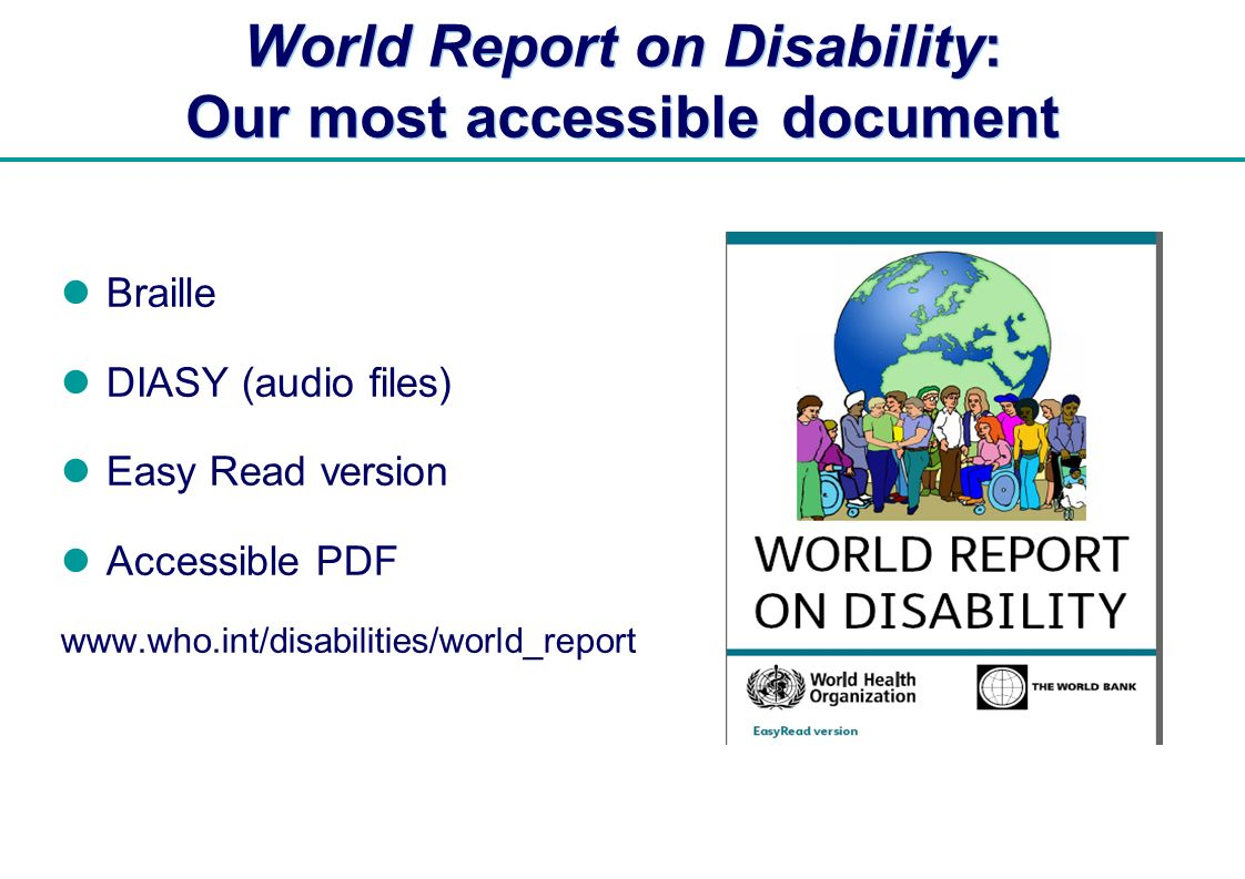 World Report on Disability: Our most accessible document