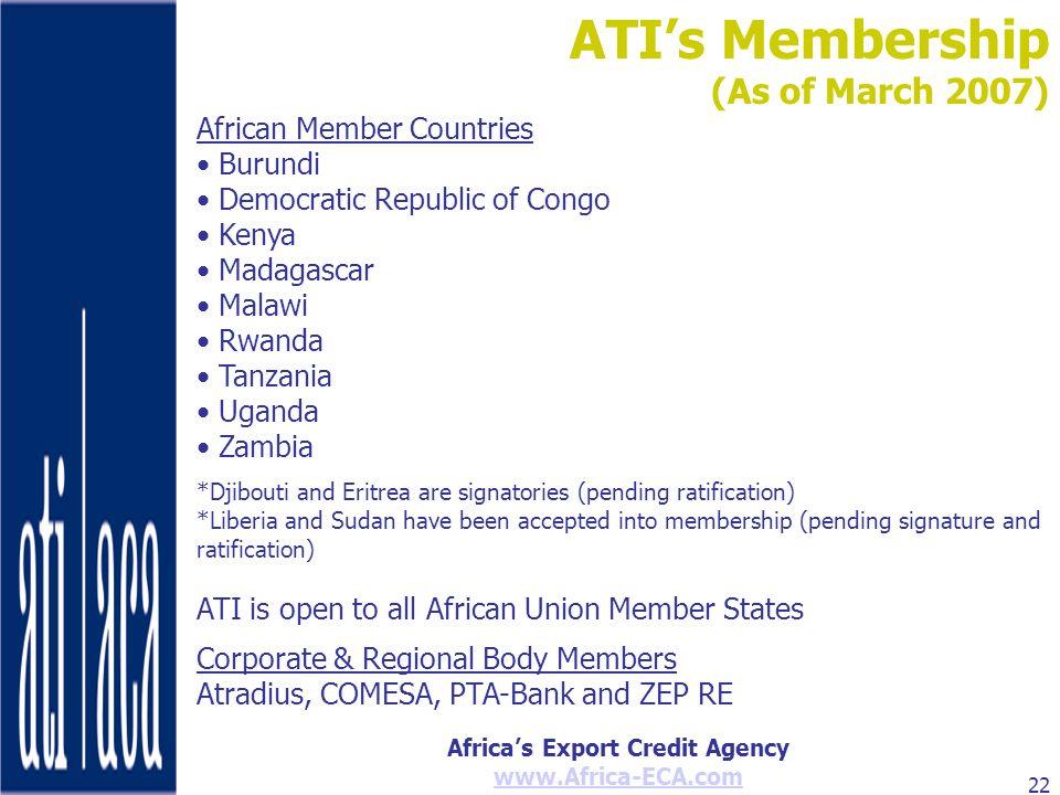 ATI's Membership (As of March 2007) African Member Countries Burundi