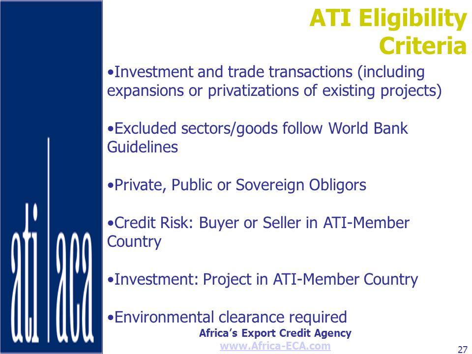 ATI Eligibility Criteria