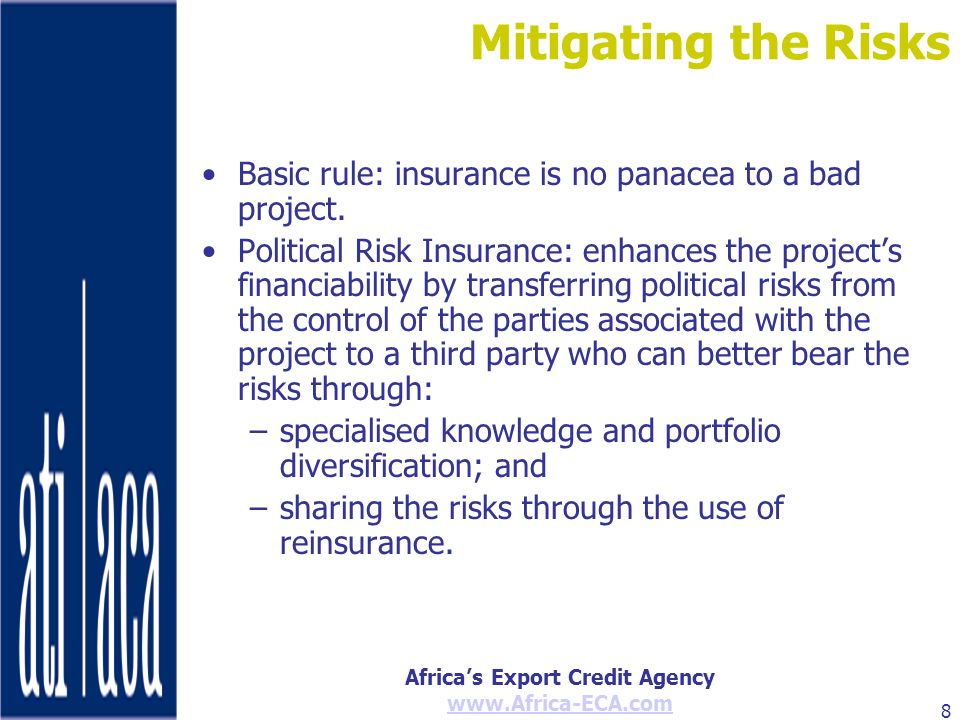 Mitigating the Risks Basic rule: insurance is no panacea to a bad project.