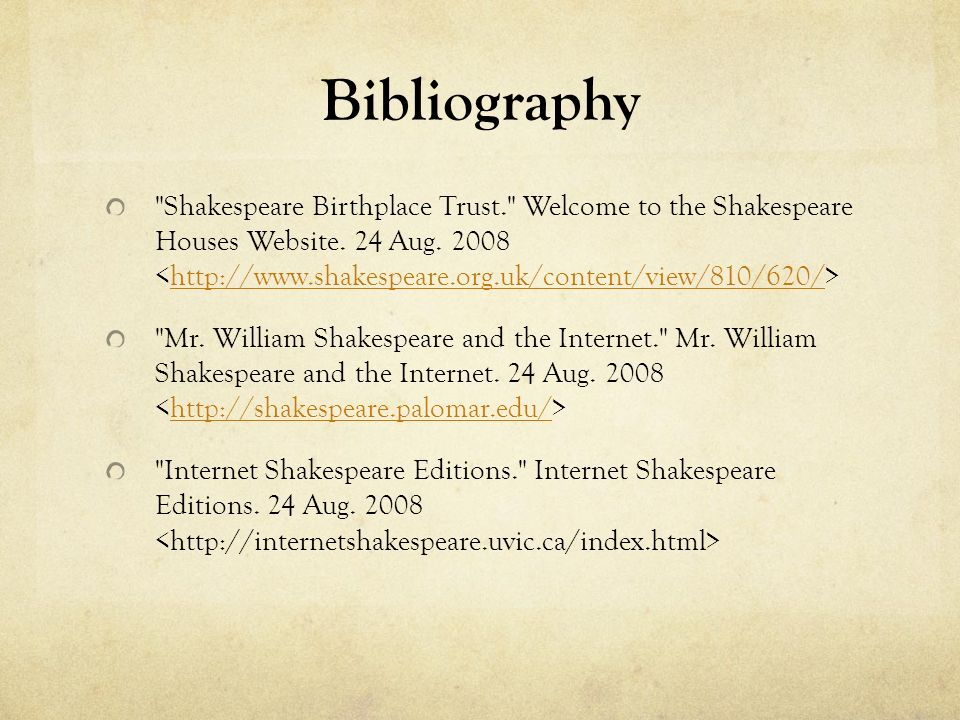 annotated bibliography on william shakespeares hamlet By the early 1590s, william shakespeare was a managing partner in the   possibly the best known of these plays is hamlet, which explores.