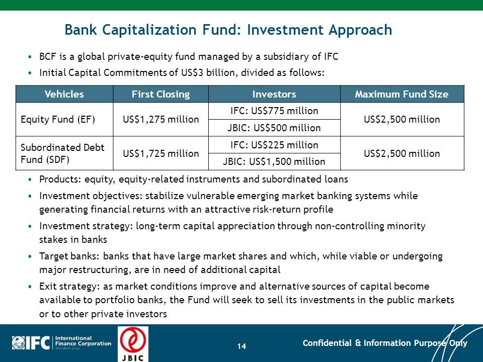 Bank Capitalization Fund: Investment Approach