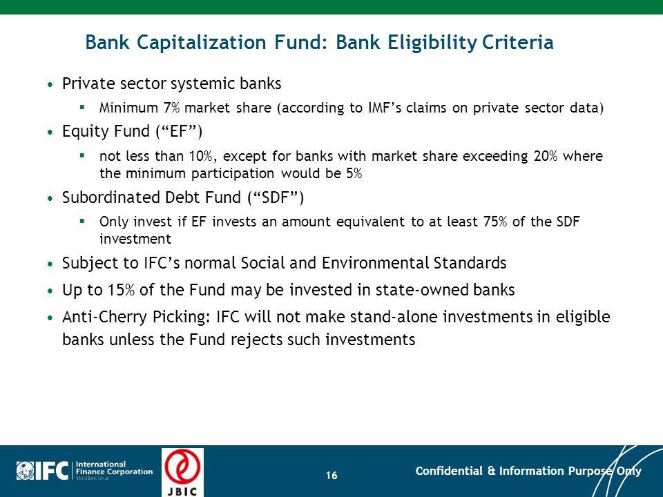 Bank Capitalization Fund: Bank Eligibility Criteria