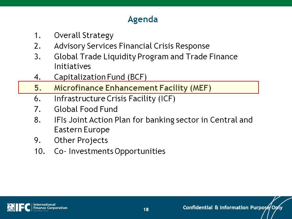 Agenda Overall Strategy Advisory Services Financial Crisis Response