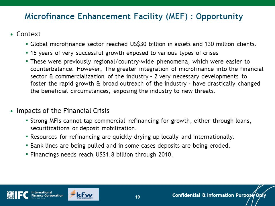 Microfinance Enhancement Facility (MEF) : Opportunity