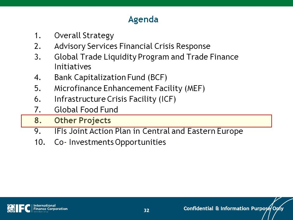 Agenda Overall Strategy Advisory Services Financial Crisis Response